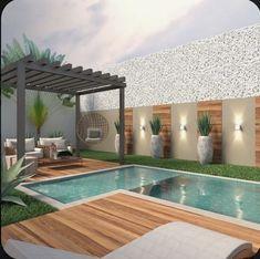 Backyard Pool Designs, Small Backyard Pools, Backyard Garden Design, Swimming Pools Backyard, Small Pools, Garden Landscaping, Terrace Design, Modern Backyard, Landscaping Ideas