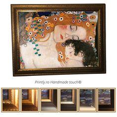 Comanda pe www.printly.ro tablouri canvas, inramate cu rama din lemn, sau tablouri pictate.Colectie Tablouri handmade (pictate partial), reproduceri ale unor tablouri celebre Klimt. Klimt, Mother And Child, Canvas, Children, Frame, Home Decor, Mother Son, Tela, Young Children
