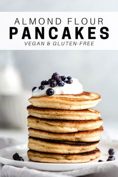 These almond flour pancakes are light, fluffy and SO easy to make! All you need is 7 simple ingredients to make these grain-free and keto pancakes everyone will love! #almondflour #pancakes #pancakerecipe #glutenfree #keto