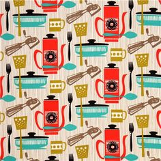 michael+miller+retro+fabrics | Go Back > Gallery For > Retro Kitchen Fabric Michael Miller