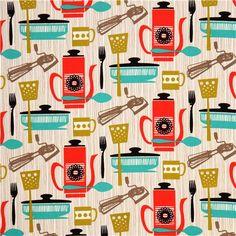 cream Michael Miller kitchen retro fabric Kitchenette