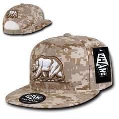 7dca340a838 New Whang Original California Republic(desert digital camo)SnapBack flat  bill cap embroidery 6 panel one size fits most other colors available