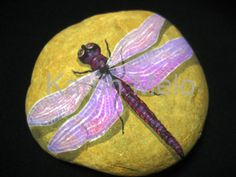 Hand painted Stone / Any type of Dragon Fly on by MeloArtGallery