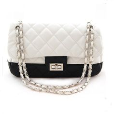 Luxury Designer Faux Leather Quilted Chain 2 Tone Black & White Shoulder Hand Bag Purse