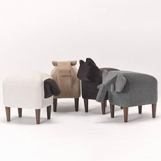 Bring the pasture indoors and give your kids a chance to ride their favorite farm animals with this  Frien'Zoo Stool. Soft materials and removable walnut wood legs go behind the designs which can work as a great playmate in your kid's bedroom.