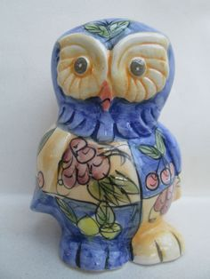 Lovely Pottery Hand Painted Glazed Ceramic Owl Ornament Figure Figurine