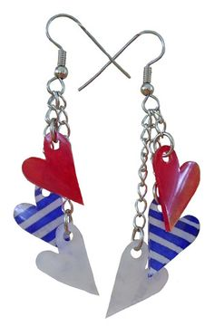 Unique Creations — 4th of July Heart Earrings