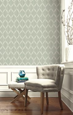 Painted Ogee Wallcovering. Yacht Club Collection from Wallquest