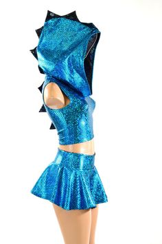 Aquamarine Black Spiked Dragon Hoodie Crop Mini Skirt Set Festival Rave | eBay