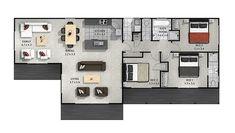 Plano de casa de una planta y tres dormitorios 003 One Floor House Plans, Floor Plans, Cavity Sliding Doors, U Shaped Kitchen, Walk In Wardrobe, Classic Series, Simple Shapes, New Builds, Garage Storage