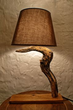 Luxurious and very unusual wooden lamp made of hawthorn wood. Why is it Halloween lamp? It is because no other lamp can have better reputation than the lamp whose wood is used to kill vampires.There was a belief in ancient times, and this belief it Table Lamp Wood, Wooden Lamp, Table Lamps, Desk Lamp, Room Lamp, Bed Room, Natural Lamps, Driftwood Lamp, Wood Sculpture