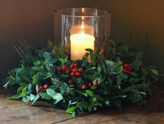 Holly berries and candles