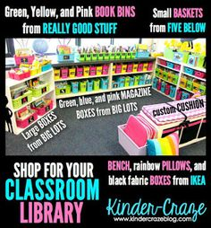 http://kindercraze.com/2014/05/classroom-library-organization/