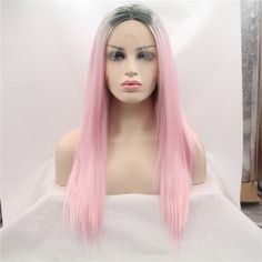 47.50$  Watch now - http://alie47.worldwells.pw/go.php?t=32704802978 - 2016 New arrival silk straight hair wigs pink ombre hair synthetic lace front wig for women heat resistant long straight wig
