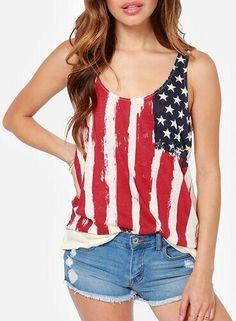 Beige Floral Sleeveless Wrap Dacron Vest (Flag Tank Top)