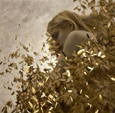 the paintings and artwork of brad kunkle. gold leaf artist and painter brad kunkle. Aqua Regia, Silver Leaf Painting, Gold Leaf Art, Gold Art, Art Feuille D'or, Brad Kunkle, Art Visionnaire, Spiritus, Painted Leaves