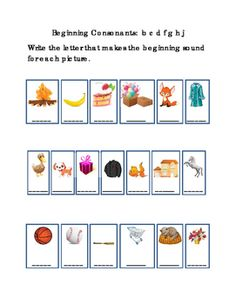 Kindergarten+Reading+Write+Beginning+Consonants+Letters+B+C+D+F+G+H+J+for+Each+Picture.+Tools+for+Common+Core.+Emergent+Reader.+1+page.+