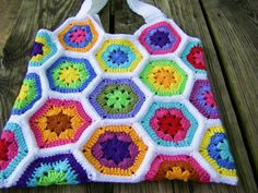 Strappy & oh, so colorful Hex Granny tote  from sew ritzy~titzy: