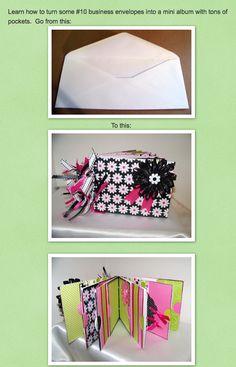 Create a beautiful Mini Album from #10 envelopes!!  (Ann Greenspan's Crafts: Online DIY Craft Teaching)