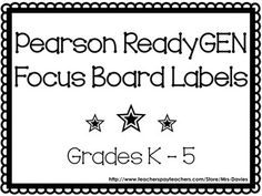 Looking for labels to start or spruce up your Ready GEN focus bulletin board? Included in this pack are focus board labels and ReadyGEN pennants to make a classy title for your bulletin board. ReadyGEN is a new ELA curriculum being used in public schools.