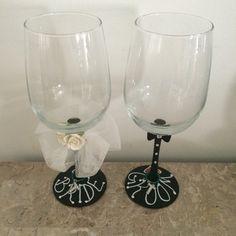 Bride & Groom chalkboard wine glasses