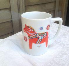 Dala horse mug / signed Berggren Swedish Dala by PureJoyVintage