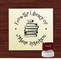 Custom SELF INKING Bird on Books Ex Libris / From the Library of Custom Rubber Stamp - Personalized Library Stamper - Style 1578