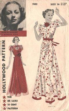1930's Olivia De Havilland Hollywood Evening Frock Pattern