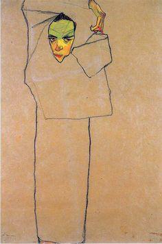 Egon Schiele: Self-Portrait, Line drawing: ink and chalk on paper? Gustav Klimt, Life Drawing, Painting & Drawing, Figure Drawing, Art Graphique, Online Art, Art History, Modern Art, Illustration Art