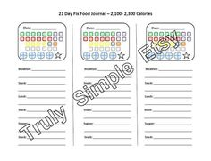 21 Day Fix Tally Sheet / 2,100 to 2,300 Calories / Beachbody Program / Journal / Food Water Exercise Tracker / Color Coded