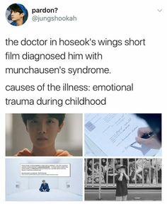 Oh my God. For those who don't know, Munchausen's Syndrome is a disease in which a person feigns illness/poor health to seek attention and love from someone. It's generally seen in children. BITCH BTS DIDNT COME TO PLAY