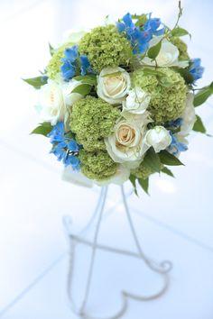サムシングブルー/グリーンブーケ/花どうらく/ブーケ/http://www.hanadouraku.com/bouquet/wedding/