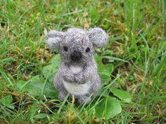 Needle Felted Koala Bear Miniature Figure by LittleElfsToyshop