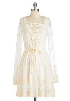 Searching for Ethereal Love Dress. With visions of the perfect bohemian frock dancing through your mind, you searched until you found this dream come true! #gold #prom #modcloth