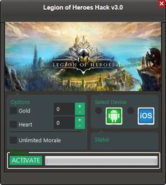 Legion of Heroes Hack Cheats Tool  Legion of Heroes Hack is Modhacks.com a new tool, that we all want to present to you. If you ever glimpse at all the other hacks on line, this amazing tool is the most effective. This specific tool was made to be functioning on Android os and iOS …