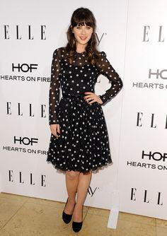 Zooey Deschanel in a sweet polka dot dress by Dolce & Gabbana