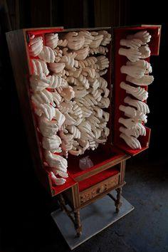 """""""Free circulation - Reliquary"""" wood, clay, glass, velvet, found object """"Livre circulação - Relicário"""" madeira, cerâmica, vidro, veludo, móvel encontrado 150x80x40 cm, 2014"""