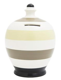 Stripe Money Pot White with Black, Grey and Mistletoe - C23