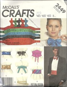McCall's Crafts Cummerbunds, belts and bow-ties. 1986. Bought in Goodwill for 25c.
