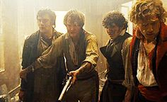 Hugh Skinner (Joly), Killian Donnelly (Combeferre), Fra Fee (Coufeyrac) & Aaron Tveit (Enjolras) in Les Mis