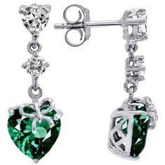 CandyGem 925 Sterling Silver LOVE Heart Simulated Emerald Earrings . $139.00