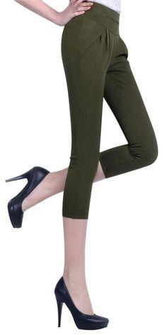 Somo Lite Women s Elastic Waist Stretch Slim Capris 4 Pockets Harem Pants  Skinny Pant (Amazon) bd5a00751b