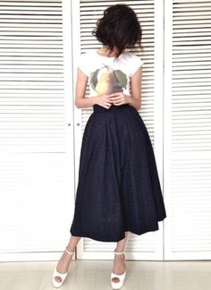 Graphic tee and midi skirt