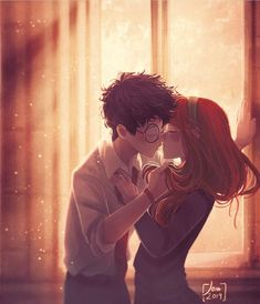 I think that James and Lily's first kiss was very intimate and simple. I mean, the kiss between Harry and Ginny was impressive and happened in front of a lot of people. In my opinion, James and Lily didn't need any grand gestures; Harry Potter Comics, Fanart Harry Potter, Harry James Potter, Harry Potter World, Harry Potter Artwork, Images Harry Potter, Harry Potter Ships, Harry Potter Drawings, Harry Potter Wallpaper