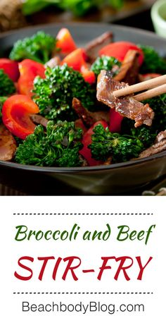 This healthy broccoli and beef stir-fry gets vibrant color and a boost of vitamin C from red bell peppers. It sure is a delicious way to eat clean. #beef #broccoli #StirFry #recipes #BellPeppers