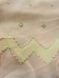 Antique Embroidered Organdy Fabric Pink Roses