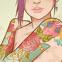 Create a Punk Queen of Hearts, With a Sleeve Tattoo in Illustrator - click photo to read tutorial #GraphicDesign #Vector #Illustrator