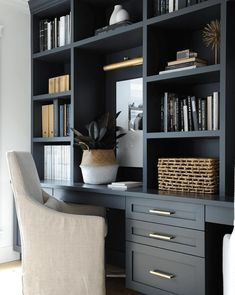 Trendy home office black desk built ins 46 Ideas Home Desk, Home Office Space, Home Office Design, Home Office Decor, Office Ideas, Small Office, Office Designs, Office Cabinet Design, Office Cabinets