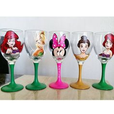 Two Hand Pianted Disney Wine Glasses : your by DrawingsByBOBA