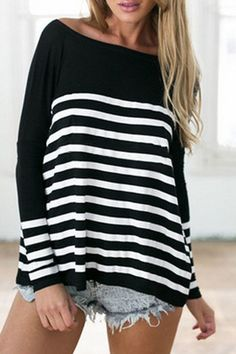 Comfy Weekend Casual! Black and White Striped Boat Neck Long Sleeve T-Shirt #Black_and_White #Stripes #Weekend #Casual #Fashion